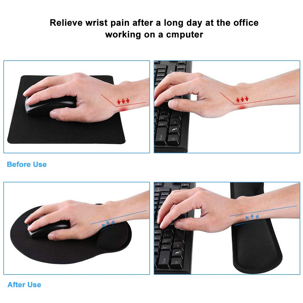 Poualss Keyboard Wrist Rest Pad Mouse Pad, Memory Foam, Rest Pads Sets for Comfortable Typing & Wrist Pain Relief, Anti-Slip Rubber Base