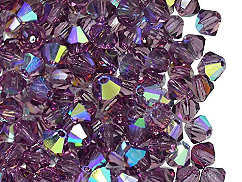 30pcs 4mm Czech MC Rondell Glass Beads (Bicone, Diamond Shape), Amethyst AB