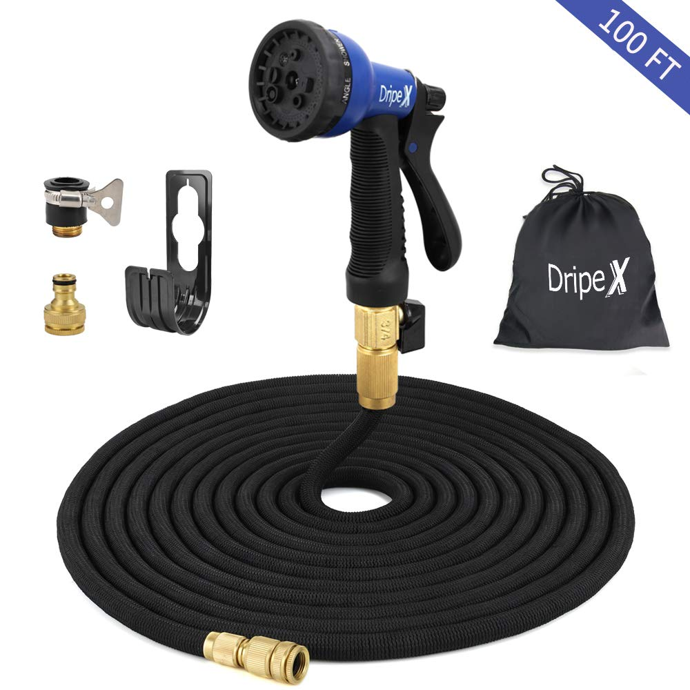 Dripex 100ft Expandable Garden Hose, Flexible Water Hose with Double Latex Core, Solid Brass Connector Fittings Tap Adaptors and 8 Function Spray Nozzle for Garden Watering Car Washing House Cleaning (1)