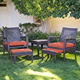 AURO Brisbane Outdoor Furniture sectional sofa set | 5-Piece Lounge Chair & Ottoman | All-Weather Brown Wicker Chat Seating with Orange Olefin Cushioned Chair & Side Table | Patio, Backyard, Pool Review