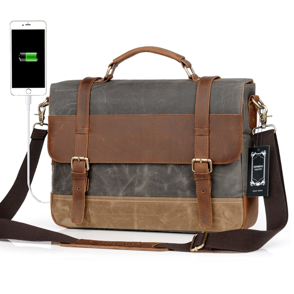 604ef1549a27 hot sale 2017 Men Messenger Laptop Bag Large Capacity Genuine Leather  Canvas Waterproof Vintage Shoulder Bags