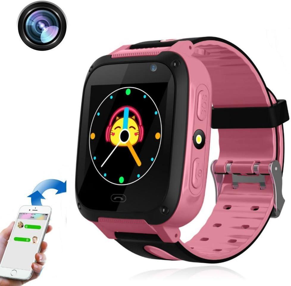 TKSTAR 1.44 Inch Smartwatch Bambini,Orologio Phone con Touch Screen SOS chiamata Watch LBS Attivit¨¤Tracker Localit¨¤Finder,Telecamera Remota Monitor,Torcia Elettrica Orologio Telefono TKS4(rosso)