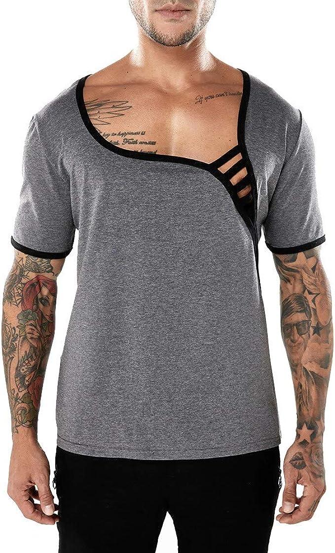 Camiseta para Hombre, Verano Manga Corta Color sólido Moda Diario ...