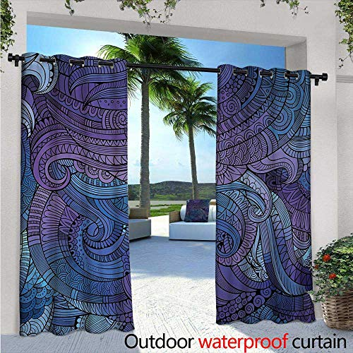 Abstract Exterior/Outside Curtains W72 x L96 Ocean Inspired Graphic Arabesque Paisley Swirled Hand Drawn Ethnic Artwork Print for Patio Light Block Heat Out Water Proof Drape Purple Blue -