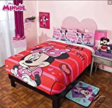 MINNIE MOUSE ORIGINAL FUZZY FLEECE BLANKET,SHEET SET AND WINDOWS PANELS 7 PCS FULL