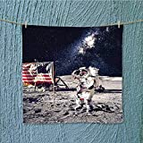 SeptSonne lightweight towel ceman on Future Solar Discovery in Deep Technology View Blue Grey for Home, Hotel and Spa W19.7 x W19.7 INCH