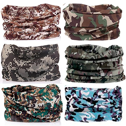 KALILY 6PCS/9PCS Headband Bandana – Versatile Sports & Casual Headwear –Multifunctional Seamless Neck Gaiter, Headwrap, Balaclava, Helmet Liner, Face Mask for Camping, Running, Cycling, Fishing etc