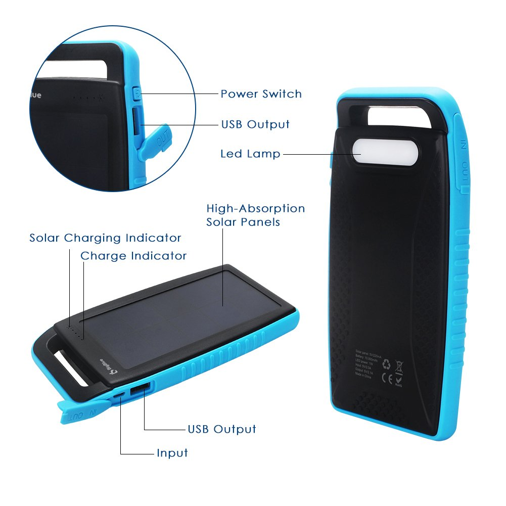 BigBlue Solar Battery Charger, 10000mAh IPX4 Waterproof Dual USB Ports Emergency Solar Powered Charger 6 LED Light Fast Charging Cellphone Tablet More Devices, Blue by BigBlue (Image #3)
