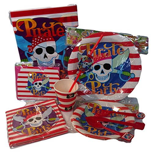 Pirate Themed Party Supplies Kit, 11 Items for a Party of 12 - Includes Plates, Napkins, Cutlery, Table Cloth and Invitation Cards