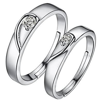 bec6355276 HMILYDYK 1 Pair Classic Forever Diamond Band Adjustable Couple Ring 925  Sterling Silver Wedding Ring Set: Amazon.co.uk: Jewellery