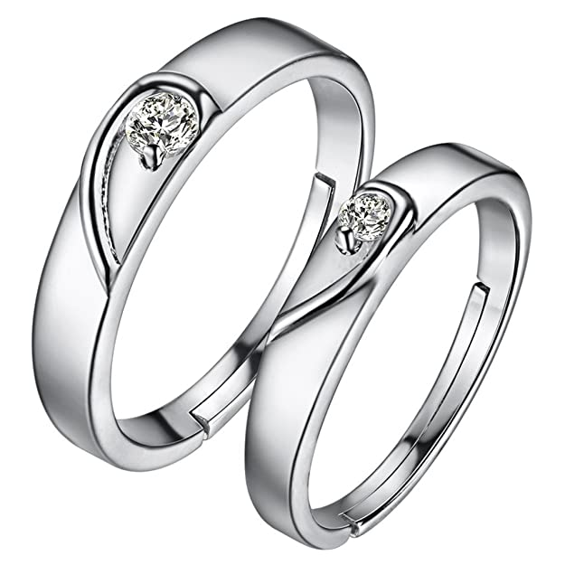 HMILYDYK - 1 par de anillos con diamante, ajustables, plata de ley 925, anillos de boda: Amazon.es: Joyería