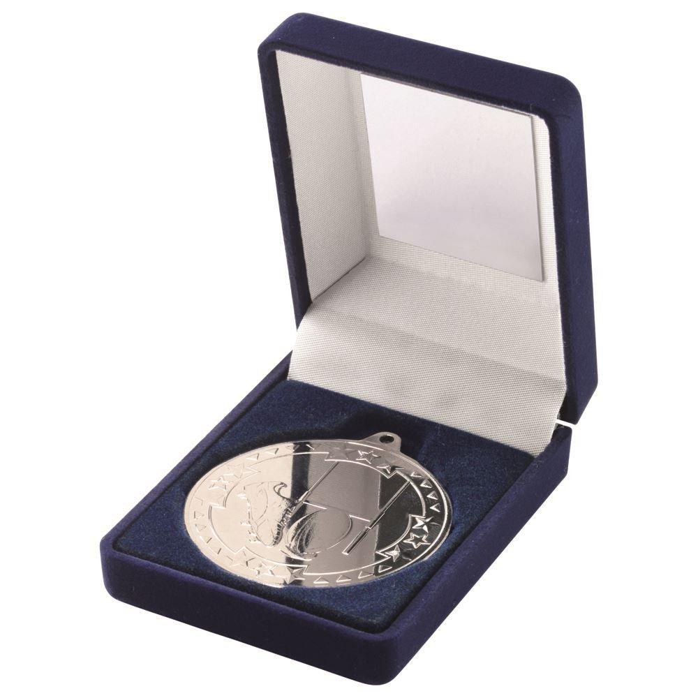 Lapal寸法ブルーベルベットボックスと50 mm Medal Rugby Trophy – シルバー3.5 in B07C8M9HGF