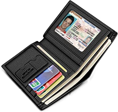 Super Thin Leather Bi-fold Wallet Credit Card ID Holder