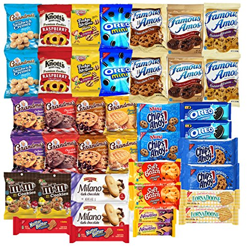 Cookies Variety Pack Individually Wrapped Assortment Including: Oreos, Keebler, Grandma's Cookies, Chips Ahoy and Much More of your Favorite Cookies- 40 (Soft Sugar Cookies For Halloween)