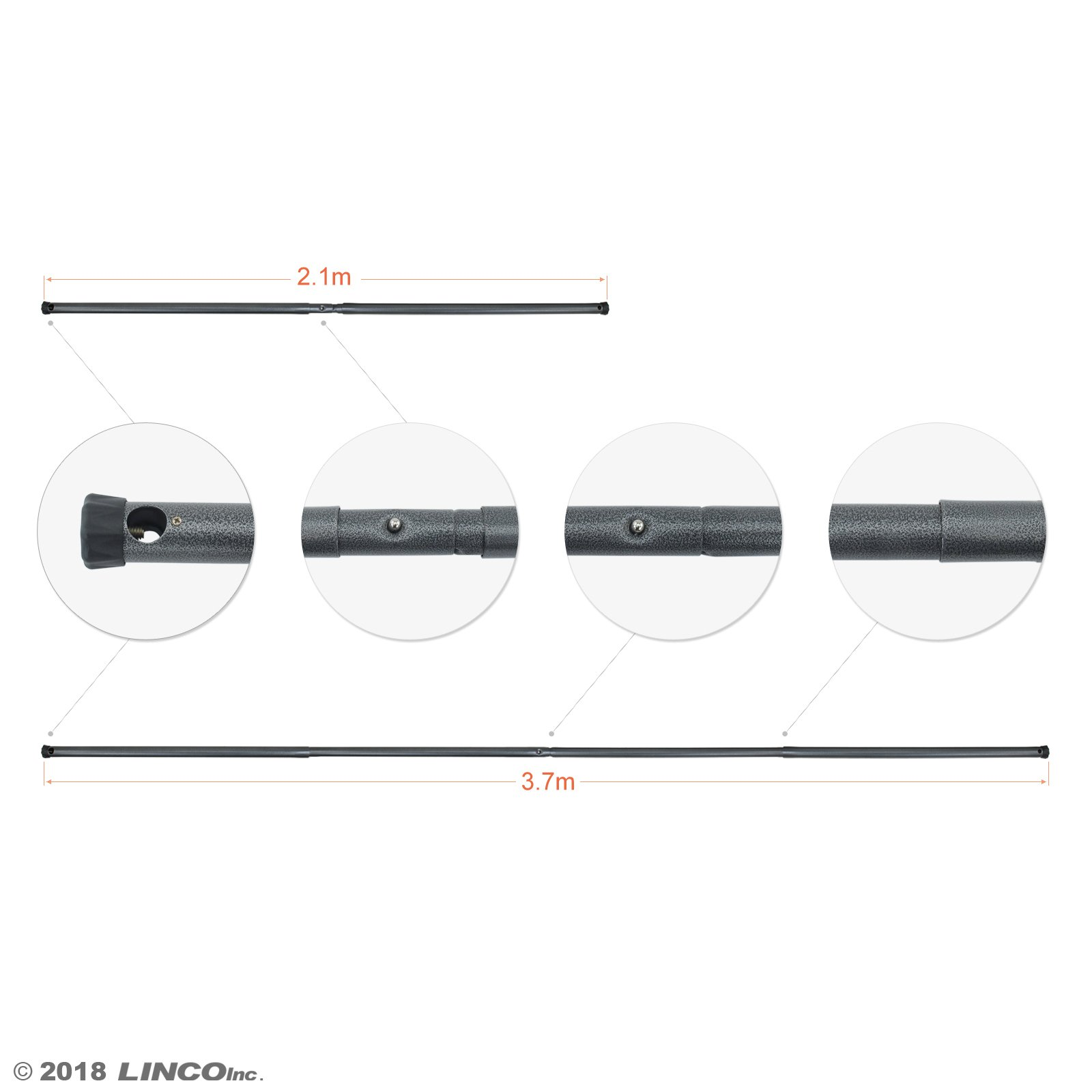 LINCO Lincostore Studio Crossbar for Backdrop Stands, 12.5 feet, Telescopic AM237