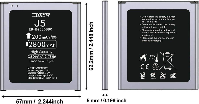 sans NFC HDXYW Batterie pour Samsung Galaxy J3 und Galaxy J5 2800 mAh EB-BG530BBC//Galaxy J3 2016 SM-J320F// Galaxy J5 2015 SM-J500F//Galaxy Grand Prime G530 Remplacement de Grande capacit/é