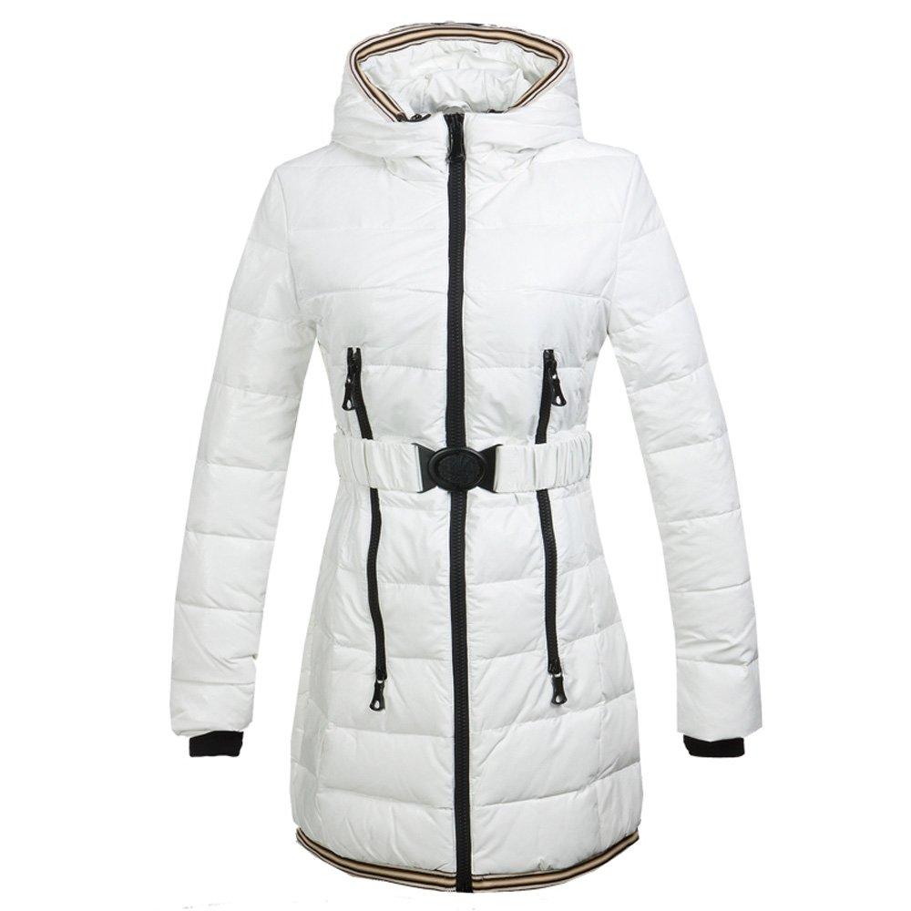 Blanc X-grand(Taille 42) CIKRILAN Femme Imperméable PU Cuir Hiver Chaud Doudoune Veste vers Le Bas Mode Longue Slim Coupe-Vent Capuche Manteau Parka