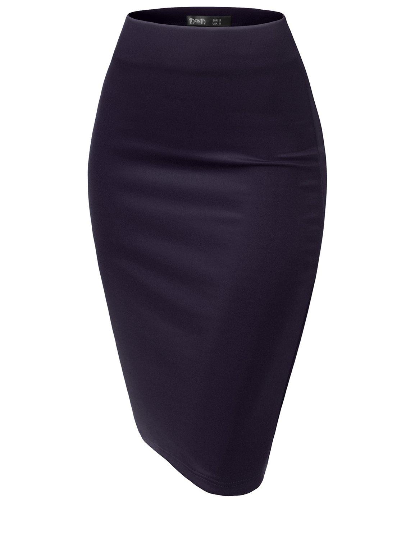 TWINTH Slim Vintage Pencil Skirts Below Knee Skirt Navy XX-Large