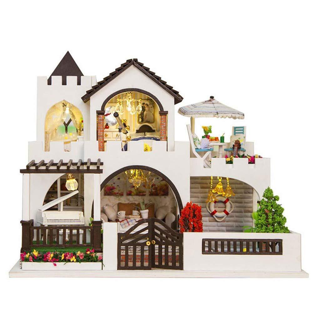 SJHO 3D Puzzles, Puzzles, 3D Wooden Handmade Doll House Kit DIY Miniature Princess Castle-LED und Music Box 903036