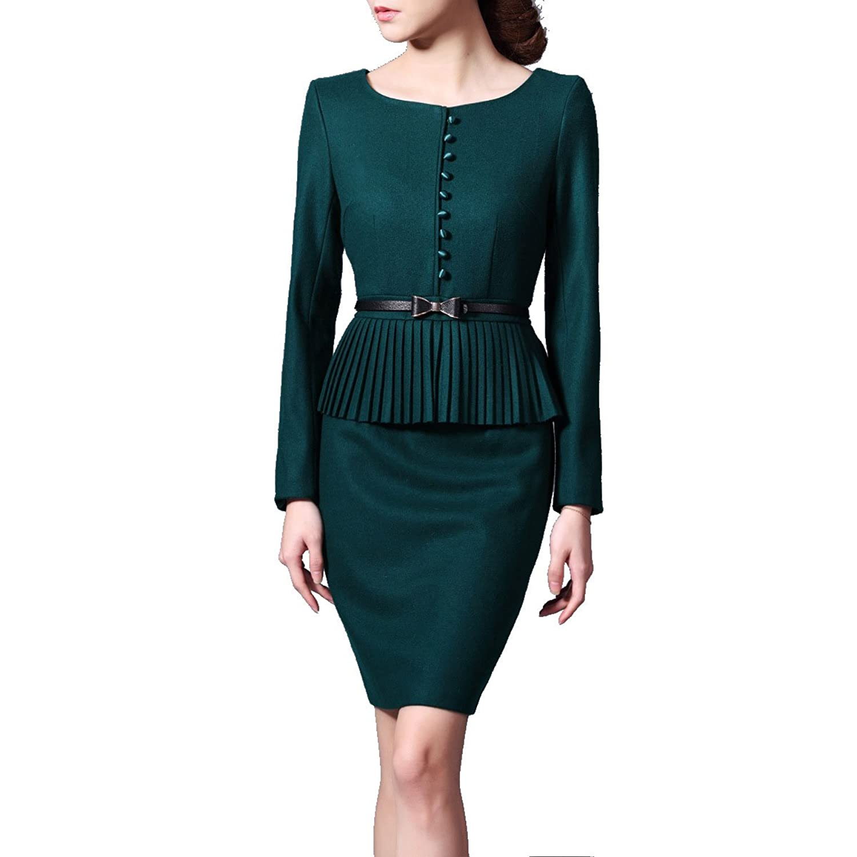 Nanxson(TM) Women's Long Sleeve One-piece Slim Dress with Belt LYQ0030