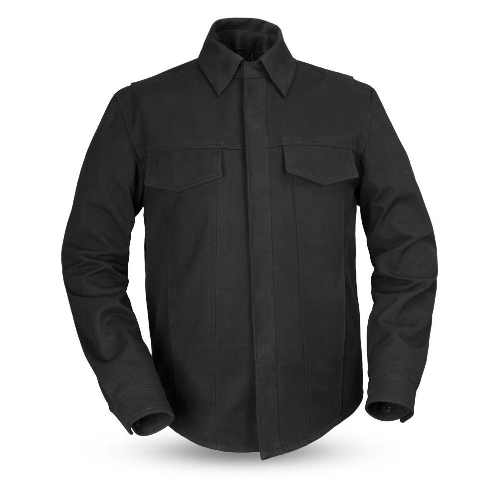 First Mfg Co Men's Mercer Canvas Motorcycle Shirt (Black, 3X-Large)