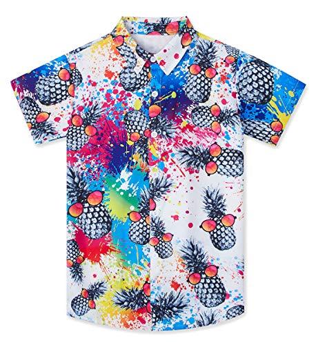 Little & Big Boys Hawaiian Button Down Shirts 3D Graphic Rainbow Tie Dye Island Top Beach Sunset Cartoon Print Slim-Fit Short Sleeve Cool Dress T Shirt Summer Tropical Luau Costume for Casual ()