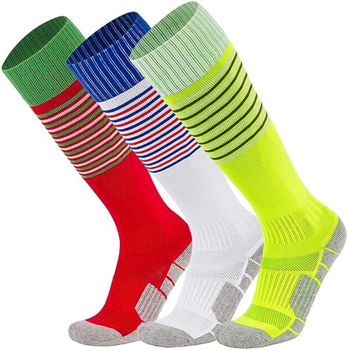 Children/'s Sport Football Soccer Baseball Stripe Knee High white Long Socks