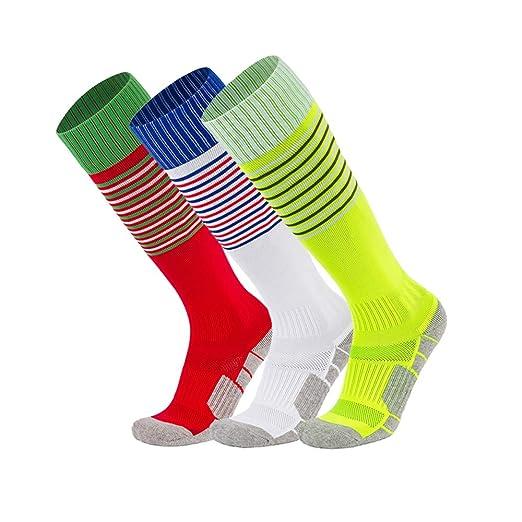 e99c6a70bea49 XIKUN Kids Soccer Socks Boys Girls Stripe Knee High Performance Team Sports  Long Tube Football Socks