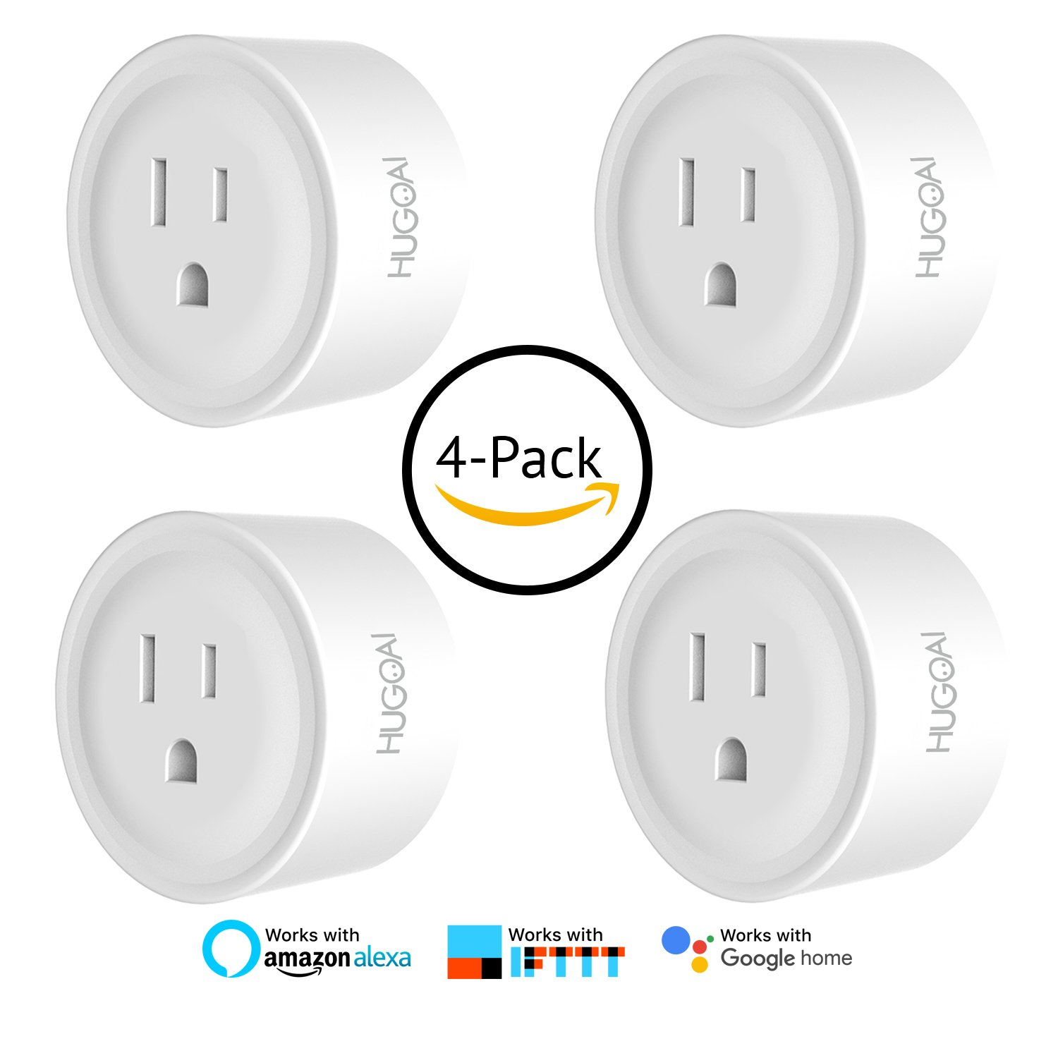 WiFi Smart Outlet, HUGOAI Mini Smart Plug 4 Pack, Compatible with Alexa & Google Home/IFTTT, APP Remote Control from Anywhere, No Hub Required, Wifi Enabled Voice Control Smart Socket