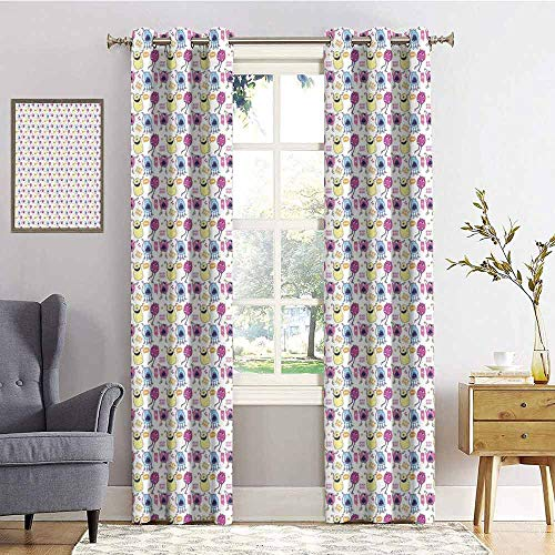 (Alien Blackout curtains - gasket insulation Colorful Alien Monsters Scaring People Boo Grrr Inscriptions Speech Bubbles Hearts Blackout curtains for the living room W72 x L84 Inch Multicolor)