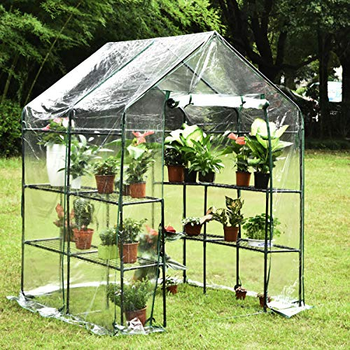 KingSo Mini Greenhouse with 8 Sturdy Shelves Portable Walk-in Plants Greenhouse for Outdoor/Indoor Gardens, Patios, and Backyards, Greenhouse kit Includes Plastic Cover, Roll-Up Zipper Door