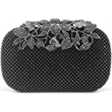 Dexmay Luxury Flower Women Clutch Purse for Wedding Party Rhinestone Crystal Evening Bag Pewter