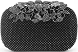 Dexmay Luxury Flower Women Clutch Purse for Wedding Party Rhinestone Crystal Evening Bag Pewter