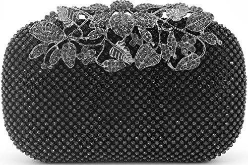Dexmay Luxury Flower Women Clutch Purse for Wedding Party Rhinestone Crystal Evening Bag Pewter by DEXMAY DM