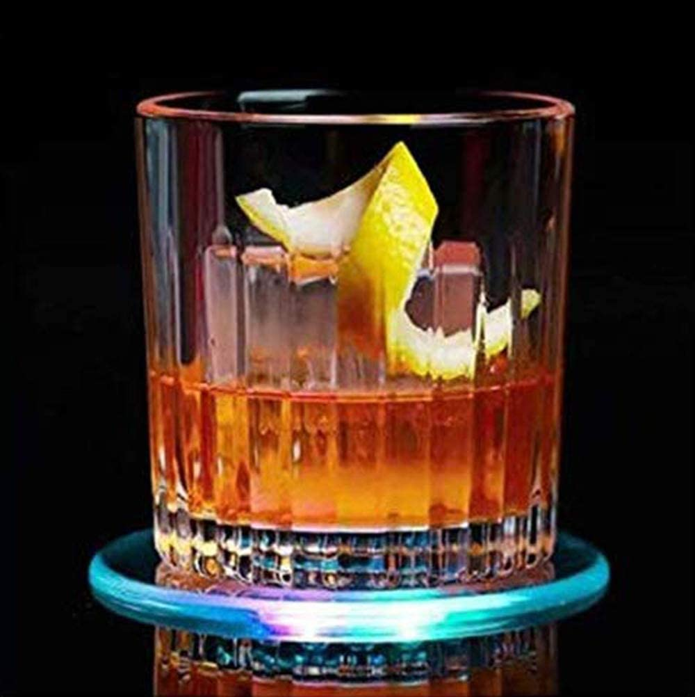 Light Up Cocktail Coaster,Acrylic Multi-Color Infinity Tunnel LED Drink Coaster Ultra-thin 3.90 In. Drink Coaster,Bar Beer Beverage Coasters for Club,Wedding, Bar, Party Decoration,9Packs