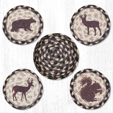 Brown/Black/Tan Woodland Creatures Round Coasters - Set of 5