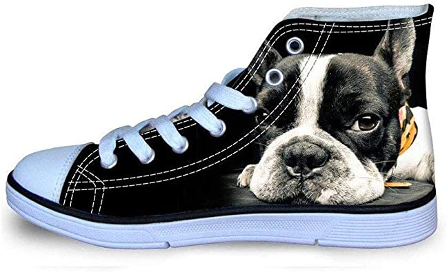 Boston Terrier Dog Unisex Fashion High Top Canvas Shoes Classic Lace Up Canvas Shoes