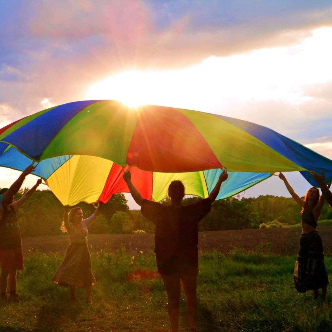 Sonyabecca Play Parachute 9ft 10ft 12ft with 12 Handles for Kids Cooperative Team Building Games