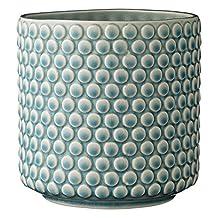 Bloomingville Scalloped Round Ceramic Flower Pot, Sky Blue