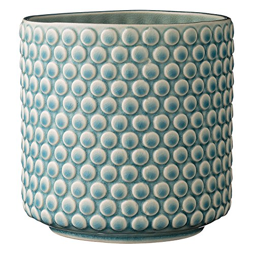 Medium Planter - Bloomingville Scalloped Round Ceramic Flower Pot, Sky Blue