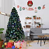 Goplus 5FT Artificial Christmas Tree Pre-Lit Optical Fiber Tree 8 Flash Modes W/ UL Certified Multicolored LED Lights & Metal Stand