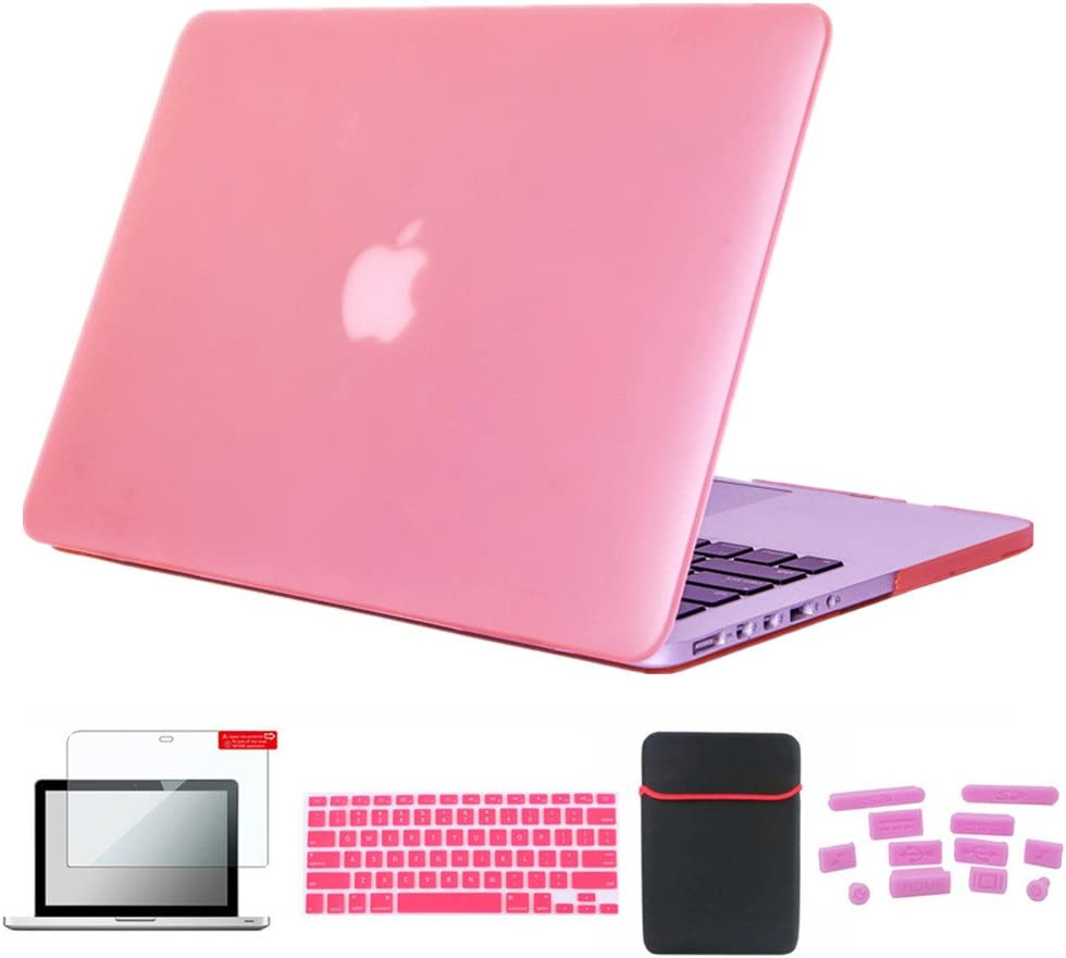 Se7enline 13 inch MacBook Pro Carrying Case Colorful Frosted Hard Shell Case Cover for MacBook pro 13 inch A1278 with Soft Sleeve Bag, Silicone Keyboard Cover, LCD Screen Protector, Dust Plug, Pink