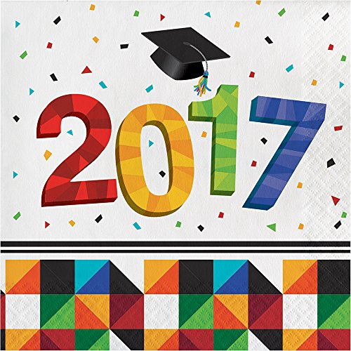 Creative Converting 36 Count Paper Lunch Napkins for Graduation Party, Fractal Fun -