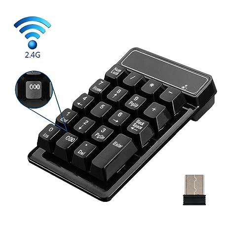 2,4 G teclado numérico, kewalker 19 teclas Impermeable Silencioso Teclado numérico inalámbrico con