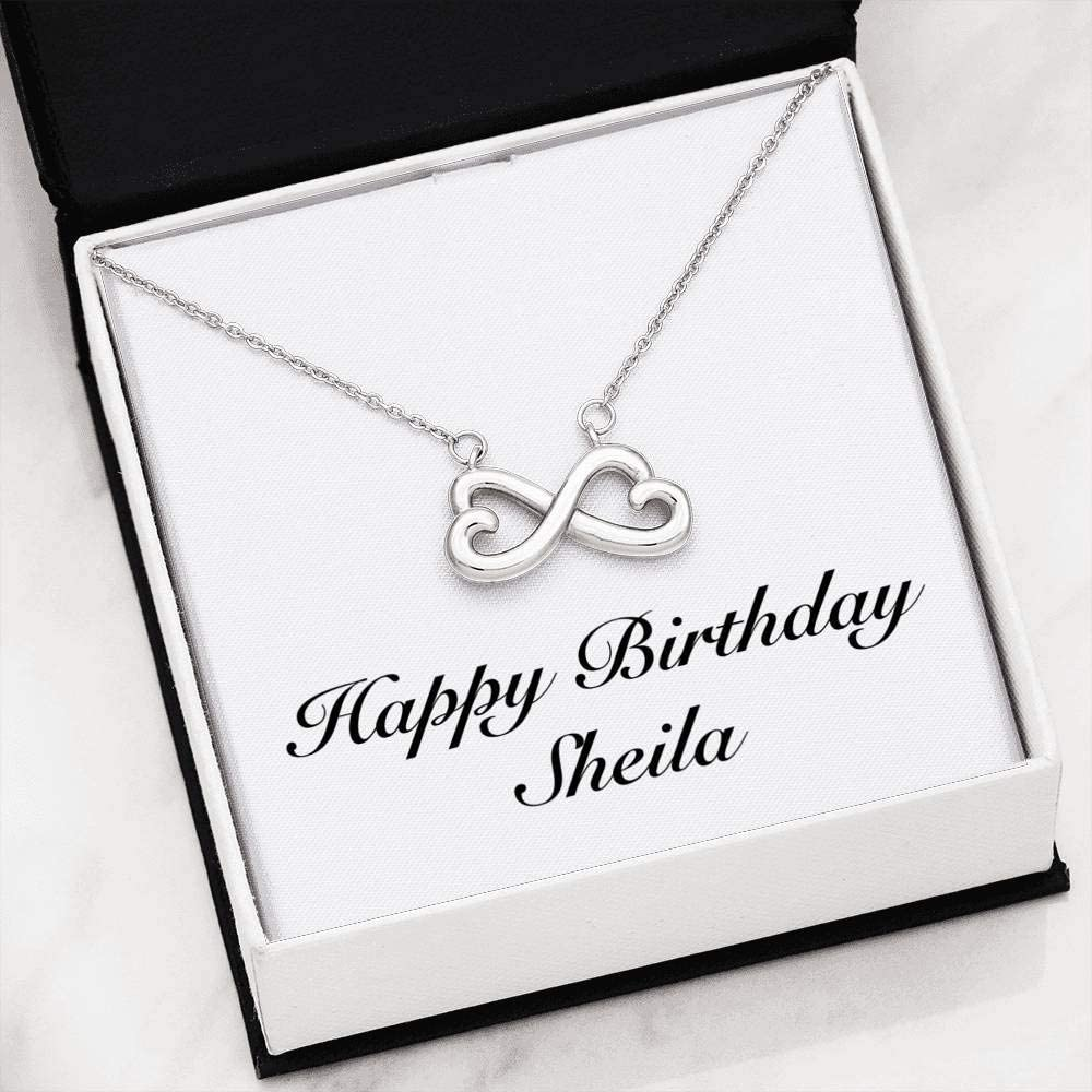 Infinity Heart Necklace 14k White Gold Finish Personalized Name Unique Gifts Store Happy Birthday Sheila