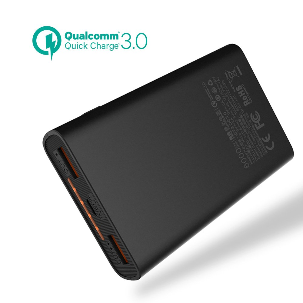 6000mAh Quick Charge Power Bank, meiyi QC 3.0 Portable Battery Charger With 2 USB Output Ports,Ultra slim External Battery Pack For iPhone iPad Samsung Android phones - Black