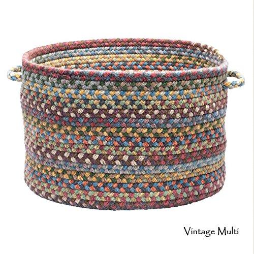Colonial Mills Wool Spacedye Medium Storage Basket with Handles Vintage Multi 16x16x10