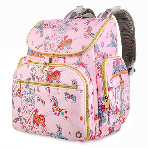 Diaper Bag Backpack, Cinsey Pink Baby Diaper Bag Nappy Changing Bag Multi-Function Best Waterproof Travel Backpack for Mon&Girl–Large Capacity, Durable, Baby Care & Stylish Unicon by Cinsey