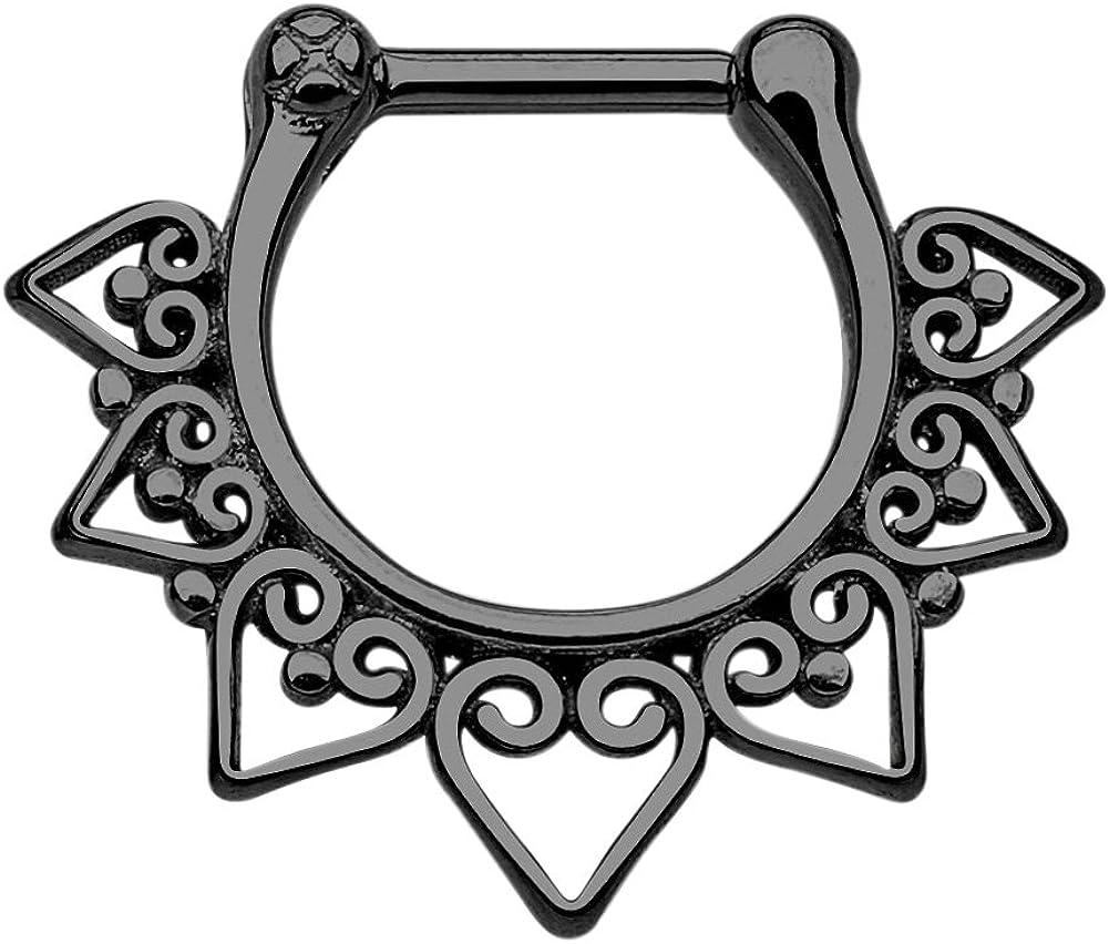 100% Surgical Steel Tribal Fan Septum Clicker Ring 16g - Choose Steel, Gold Tone, Black, or Rainbow