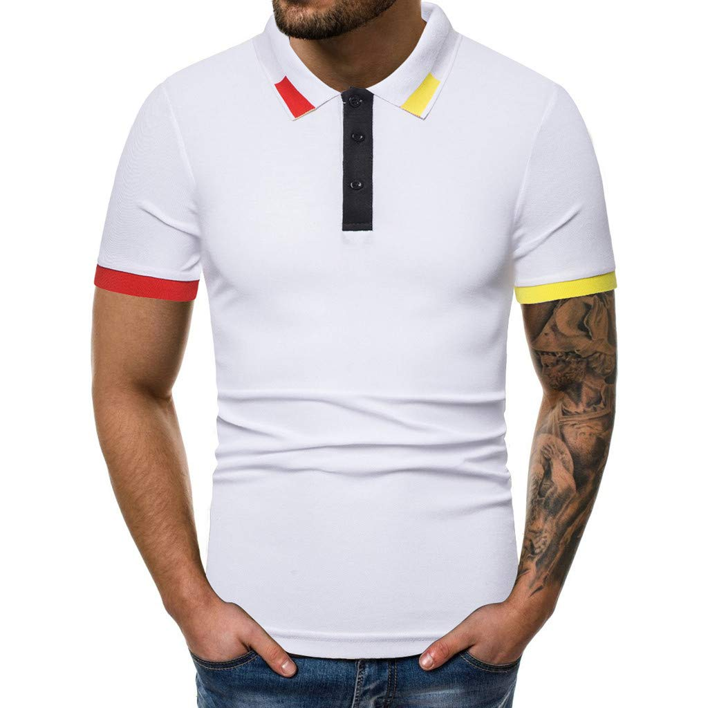 Xlala Men's Short Sleeve Pure Color Splicing Pattern Casual Lapel Short Sleeve Neckline Color Matching Polo Shirts (White, M)